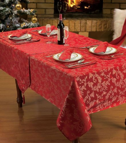 RED GLITTER JACQUARD STYLISH CHRISTMAS DINNER PARTY LINEN FLORAL TABLECLOTH RANGE